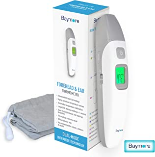 Baymore Health Digital Baby Forehead and Ear Infrared Thermometer, Portable Handheld Dual Temperature Gun, Instant Readings Fever Indicator for Infant