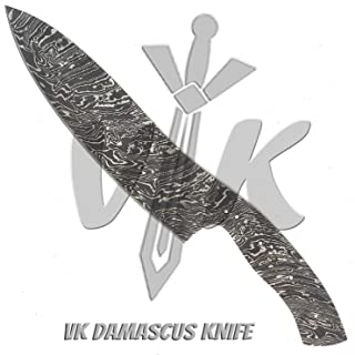 JNR Traders Handmade Damascus Steel Chef Kitchen Knife Blank Blade Fire Storm Pattern 13.00 Inches VKa4039