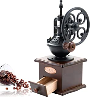 SOPRETY Vintage Manual Coffee Bean Grinder Mill Antique Wooden Hand Crank Coffee MillCoffee Grinder Roller Grain Mill With Grind Settings & Catch Drawer or Home Use and Travel