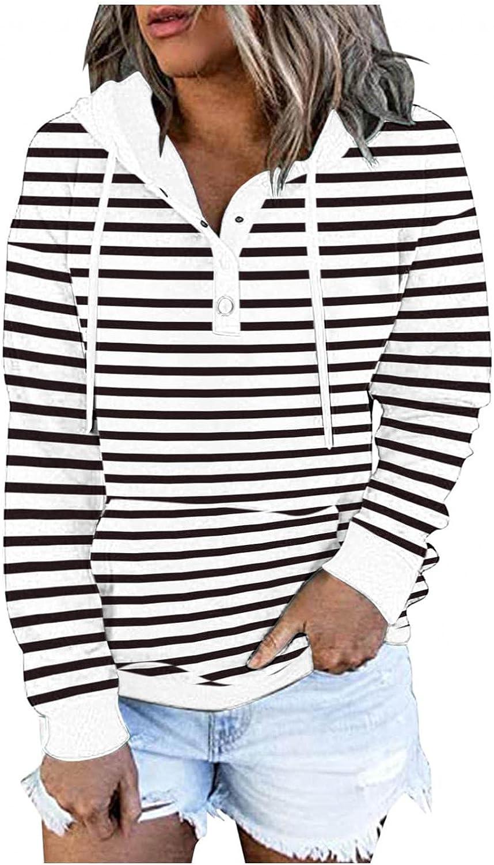 Qunkii Sweatshirt for Women,Womens Hooded Sweatshirt Casual Long Sleeve Striped Printed Pullover Drawstring Hoodies