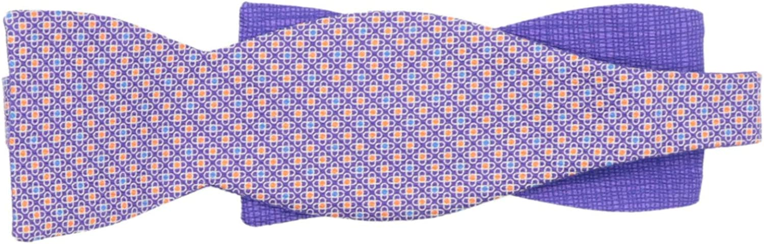 Edward Armah Men's Silk Double Sided Crosshatching and Crosses Hook B Bow Tie