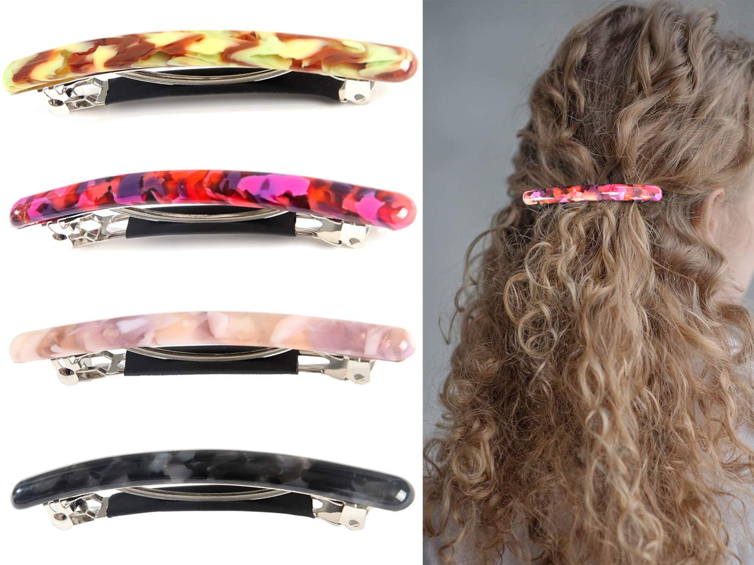 4 Pcs Skinny Hair Barrettes for Women, Colorful Small Barrette Clips for Thin Fine Hair, Celluloid Automatic French Hair Clips for Women Ladies : Beauty
