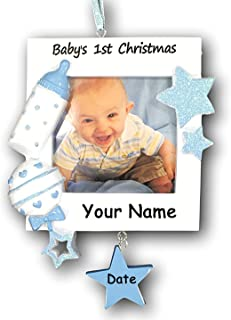 Personalized Baby's First Christmas Ornament Boy Picture Frame - Free Personalization