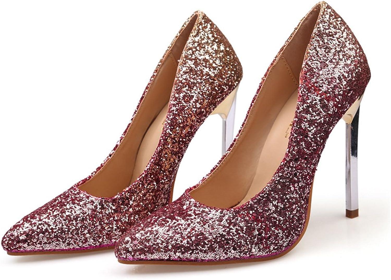 AGoGo Women's Elegant High Heels Pointy Close Toe Stiletto Pumps shoes
