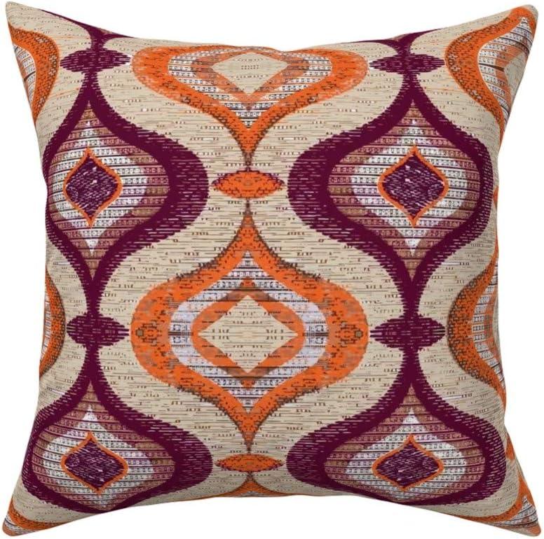 retro orange and yellow stripes linens white trim vintage pillowcase retro fabric bedding Vintage pillowcase stripes