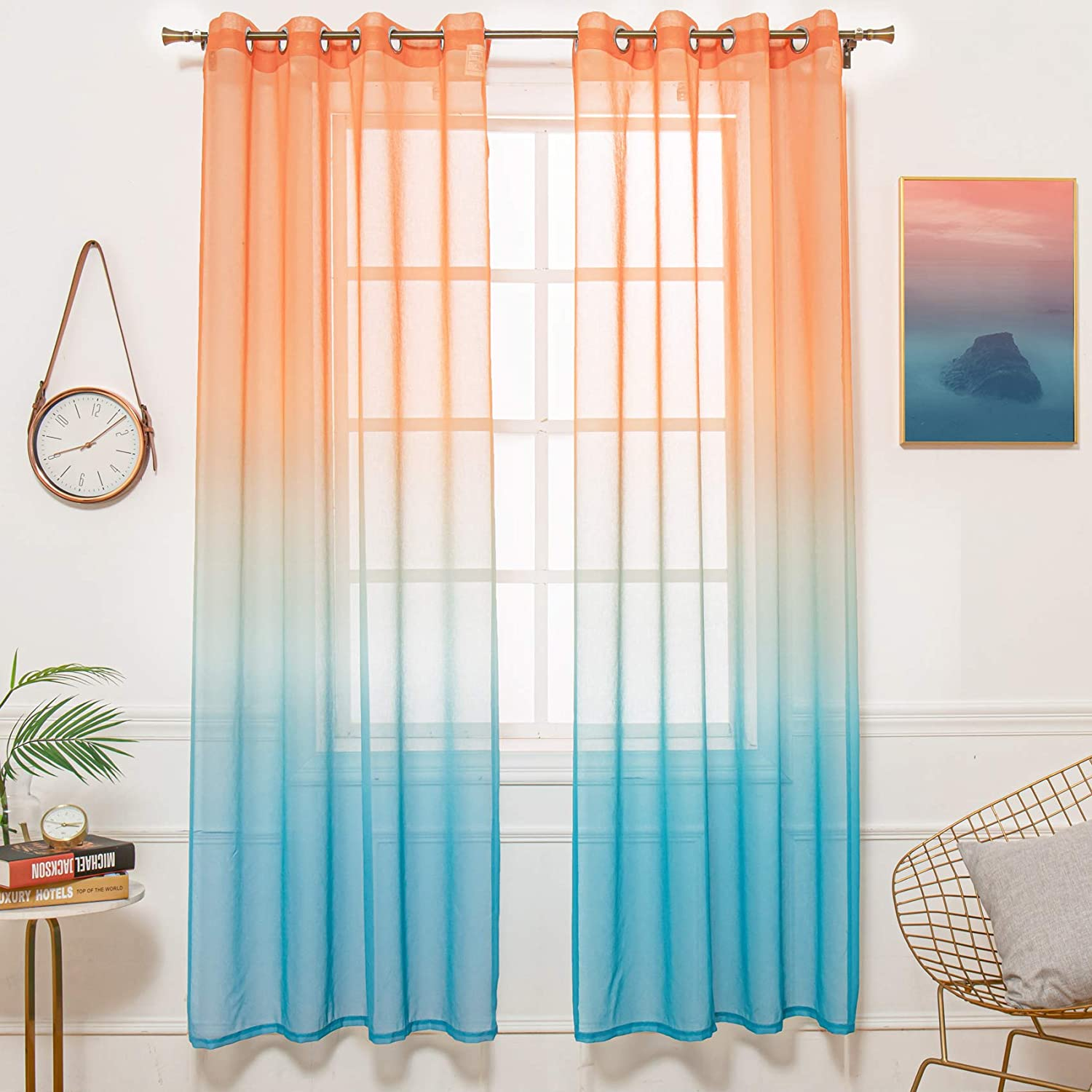 Orange Teal, 52 x 84 STFLY Set of 2 Panels Orange Teal Ombre Sheer Curtains Girls Bedroom 84 Inch Length Voile with Grommet Window Curtain