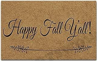 PAPKIU Welcome Door Mat Happy Fall Y'all Funny Doormat Entrance Floor Mat with Non-Slip Rubber Backing Door Mat, 23.6 by 15.7 Inch