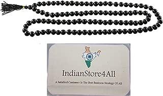 IndianStore4All 100% Original Black Hakik or Hakik or agate Gemstone Mala (108+1 Beads)