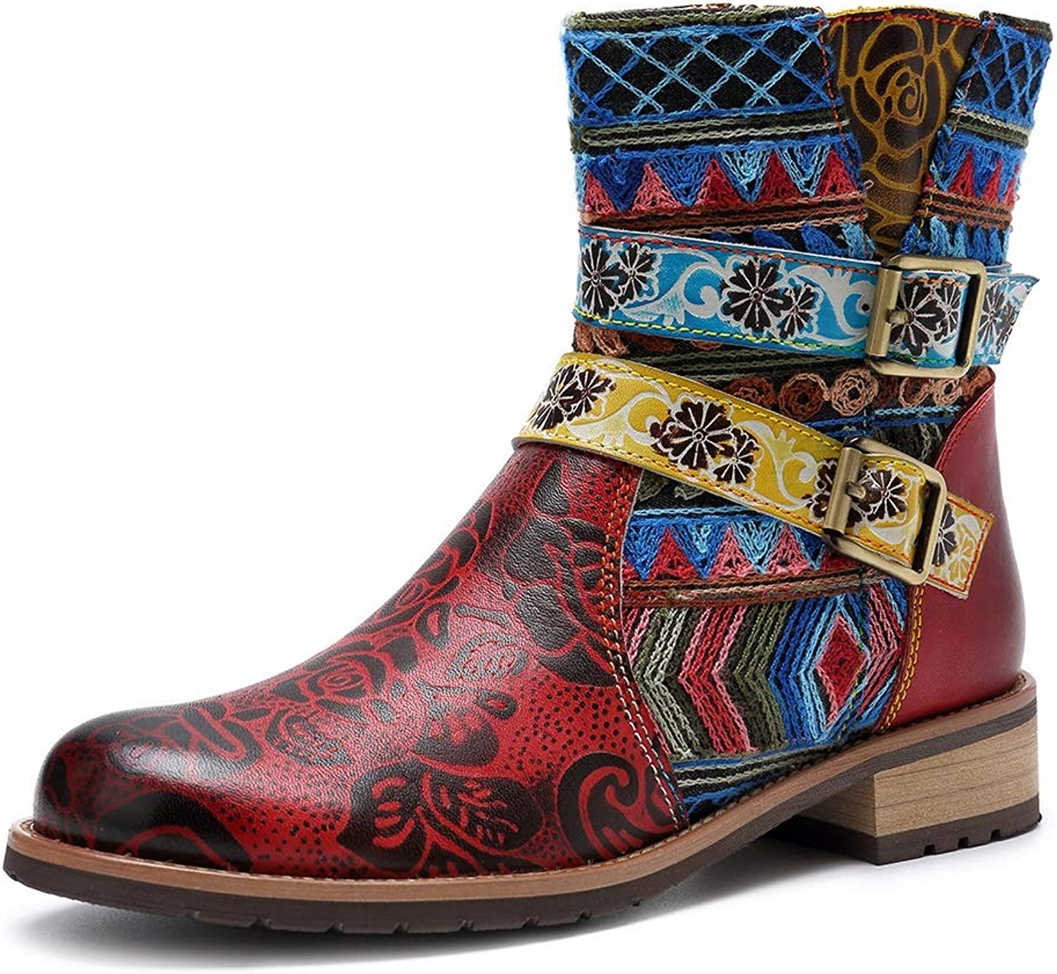 Women's Boots Retro Ethnic Style Leather Contrast color with Denim Skirt (color   Red, Size   7US)