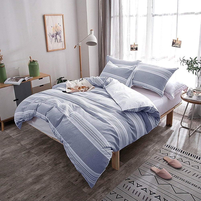 Weimilon Fil De Coton Teint Ensemble De Literie 200X220) 2X80X80Cm Chambre Simple Style à Coucher Literie Décoration Cadeau Simplicité Utiliser (Couleur   bleu, Taille   (King Set)230X220+2X50X75)