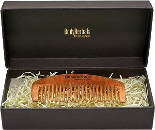 BodyHerbals Dressing Men Comb, Anti Static, Eco Friendly, Brush for Beard, Head Hair & Mustache, 100% Natural Neem Wood, H...