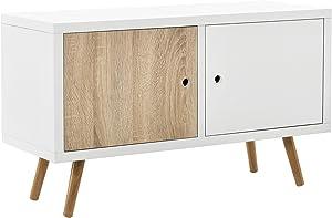 [en.casa] Retro Kommode Wien/Sideboard / TV Lowboard mit 2 Schranktüren - Eiche/weiß