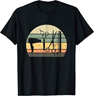 Hair Stylist Barber Tools Retro Vintage Sunset Tshirt Gift