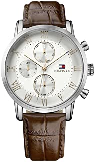 Tommy Hilfiger Men's White Dial Leather Band Watch - 1791400