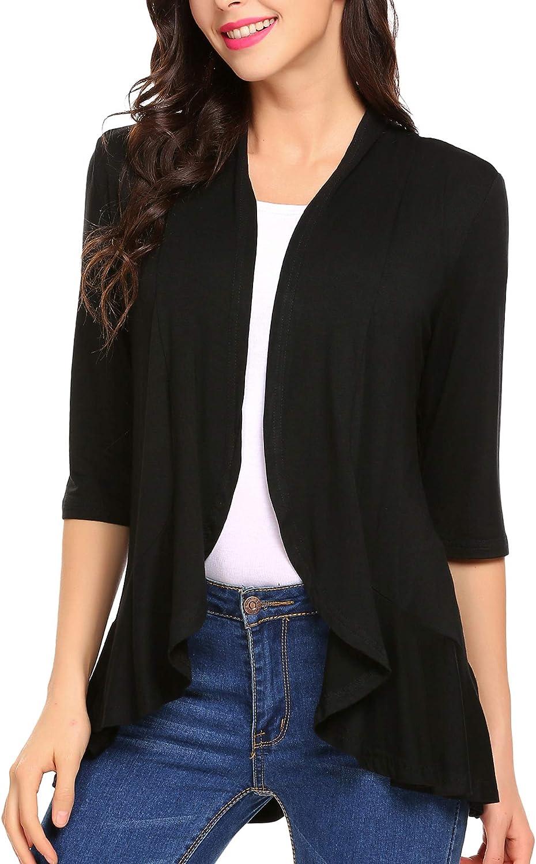 MOFAVOR Women's Short Sleeve Irregular Lightweight Soft Draped Open Front Cardigan Sweater