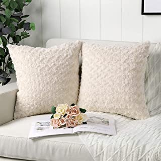 Mandioo Pack of 2 Beige Faux Fur 3D Flower Pattern Fuzzy Cozy Soft Decorative Throw Pillow Covers Set Cushion Cases Pillowcases for Couch Sofa Bedroom Car 18x18 Inches