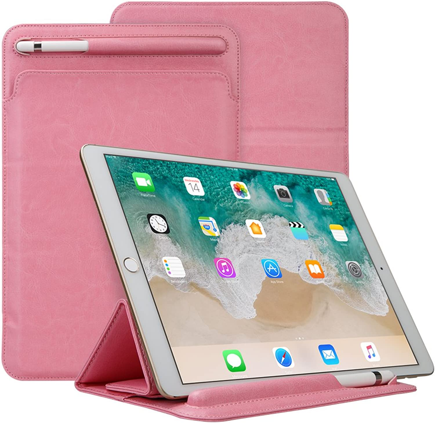 IPad 9.7 inch 2017 Sleeve, TechCode Portable Stylish Elegant Ultra Slim Lightweight Flip Folio PU Leather Predective Stand Case Cover W Pencil Holder Sleeve for iPad 9.7 inch 2017 2018 Tablet(Pink)
