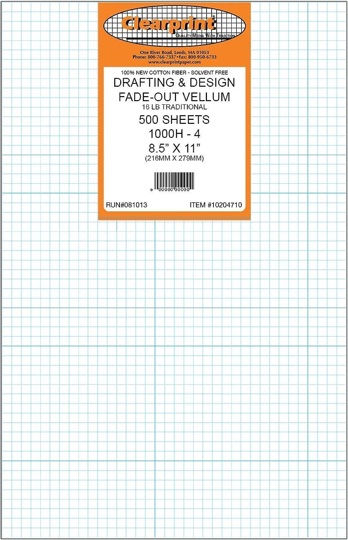 Clearprint 1000h Design Pergamentpapier Blatt Blatt Blatt mit bedruckter ausblenden 4 x 4 Raster, 16 Lb, 100% Baumwolle, 8–1 5,1 x 27,9 cm, 500 Blatt pro Packung, je 1 (10204710) B000YQF0A0 | Spielzeug mit kindlichen Herzen herstellen  4b36f9
