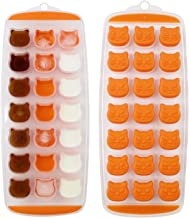 Ice Cube Tray, Candy, Chocolate Mold, Cat Ice Mold, Easy Release, BPA free, 2 Pack, Dishwasher Safe Orange AICHOOF