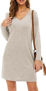 Womens Long Sleeve T Shirt Dress V Neck Batwing Casual Loose Tunic Dresses
