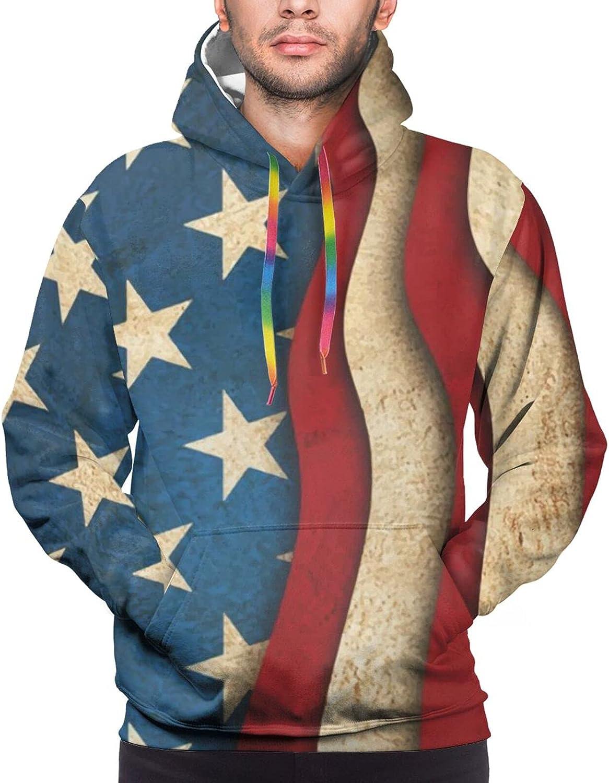 Hoodie For Mens Womens Teens Usa American Flag Blue Star Hoodies Pullover Sweatshirt Pockets