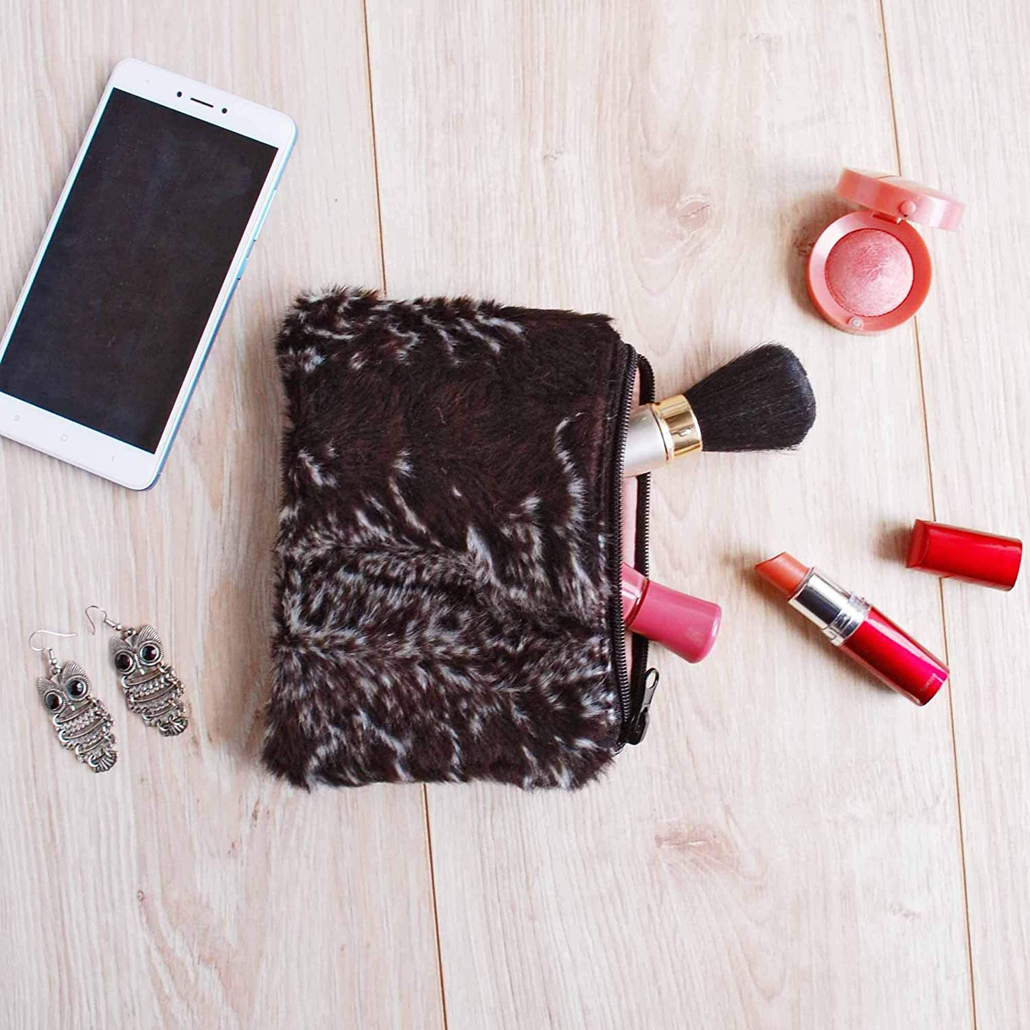 Small New popularity At the price Faux Fur Cosmetic Pouch PU Leather Furry Makeup Organizer