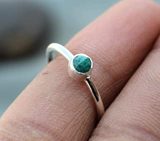 Natural Chrysocolla Ring, 925 Sterling Silver Prong,Ring, Gift For Her