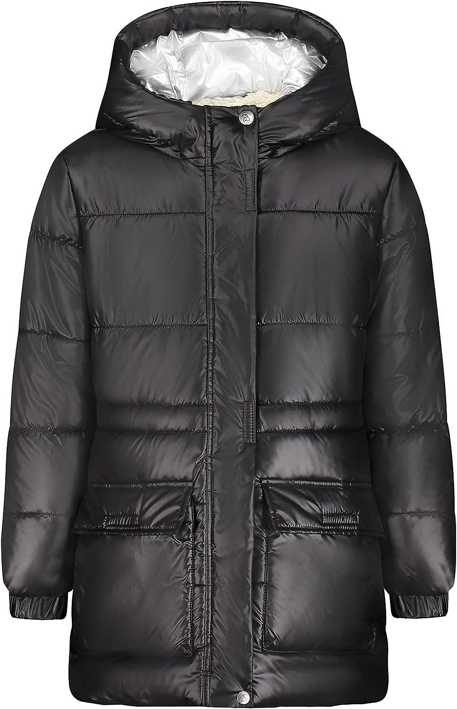 Jessica Simpson Girls' Heavyweight Jacket with Cozy Trim, Black Foil Hood, 4