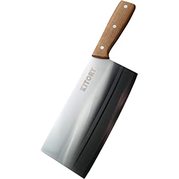 """Kitory Cleaver 7"""" Chinese Traditional Chef Knife for vegetables/Fruits/unfrozen meat - Premium German Steel Kitchen Knives - Full Tang Handmade Pearwood Handle"""