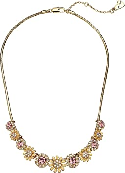 Blue by Betsey Johnson Pearl and Gold Tone Flower Necklace
