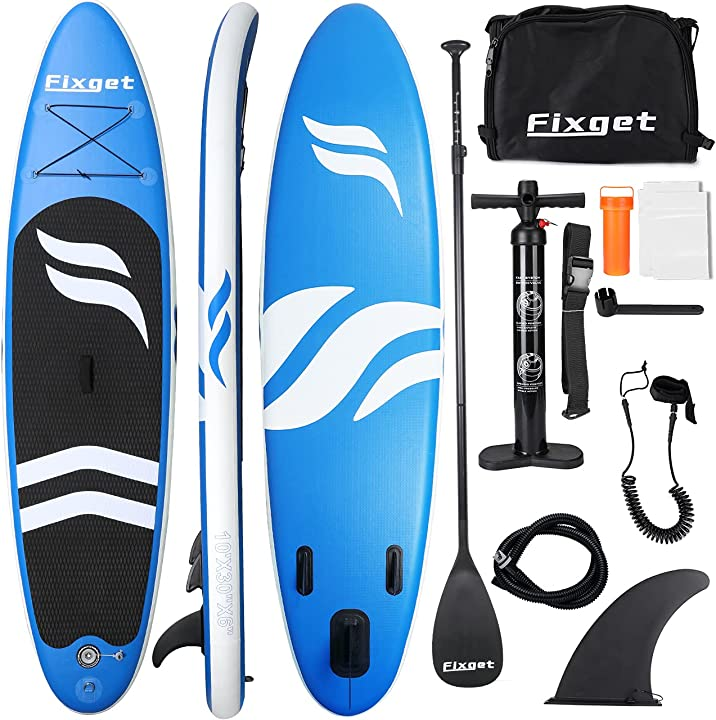 Paddle board 300x76x15cm fixget tavola sup gonfiabile tavola surf carico di 150 kg con pompa ad aria pagaia B08PZ4ZTPW
