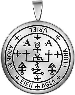 Guardian Archangel Uriel Sigil Amulet Keep Me Safe and Positive Inscription Prayer Medallion Pendant