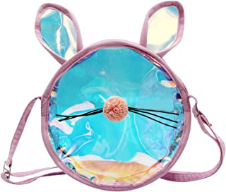 AIBEARTY Kids Toddlers Small Crossbody Purse Laser Holographic Clear Coin Wallet Purse Shoulder Bag for Baby Girls Prinecess