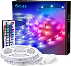 Govee LED Strip Lights, 65.6ft RGB Light Strip with Remote Control, 600 Bright LEDs, DIY Color Options with ETL Listed Adapter for Bedroom, Ceiling, Under Cabinet (2 Rolls of 32.8ft)