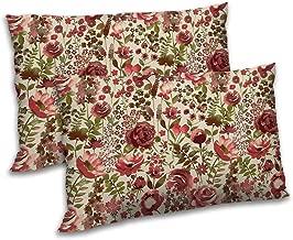 RADANYA Satin Rectangular Bedding Rose Printed Pillow Cover (Red, 12x18 Inch) - Set of 2