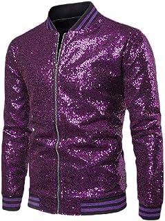 MogogoMen Coat Sequin Glitter Nightclub Relaxed-Fit Baseball Zip-Up Jacket