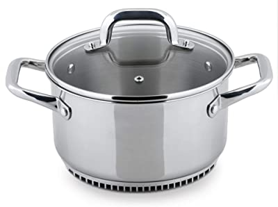 Turbo Pot RS3003 FreshAir Stainless Steel 3.5 Qt. Casserole Pot/Dutch Oven —energy efficient cookware for gas stove