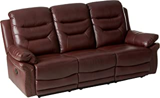 Blackjack Furniture The Andrews Collection Reclining Living Room Leather Sofa, Burgundy