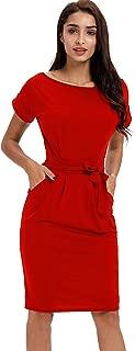 Payeel Office Midi Dresses O-Neck Pencil Dress Pockets with Belt Vest Dresses