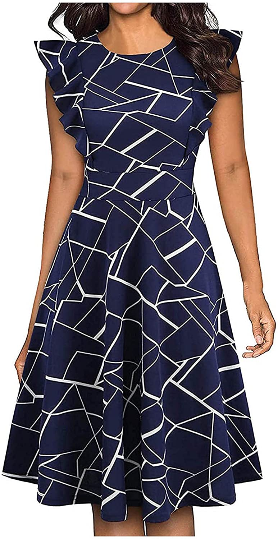 mart Womens Dresses Summer Vintage Super sale Ruffle Sk Swing Printed Sleeveless