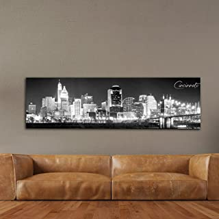 """WallsThatSpeak Panoramic Cincinnati Cityscape Picture, Black and White Stretched Canvas Art Prints, Wall Decoration for Bedroom or Office, Framed and Ready to Hang, 14"""" x 48"""""""