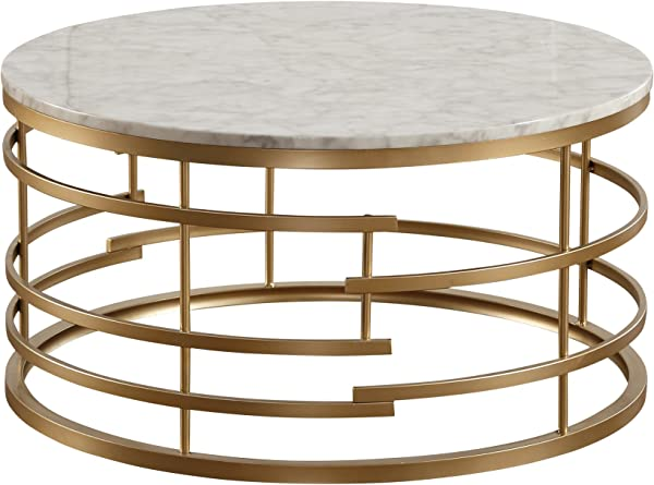 Homelegance Brassica 34 Round Faux Marble Coffee Table Gold