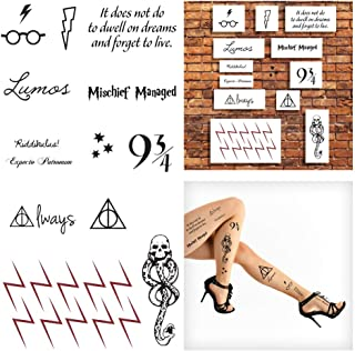 Wizard Harry Inspired Temporary Tattoos, Huge Pack of 46 Tattoos - Perfect for Wizard Parties and Dress Up