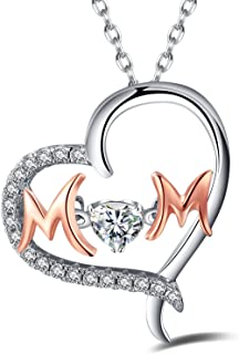 Sterling Silver Heart MOM Pendant Necklace - Perfect Christmas Jewelry Gifts for Mom