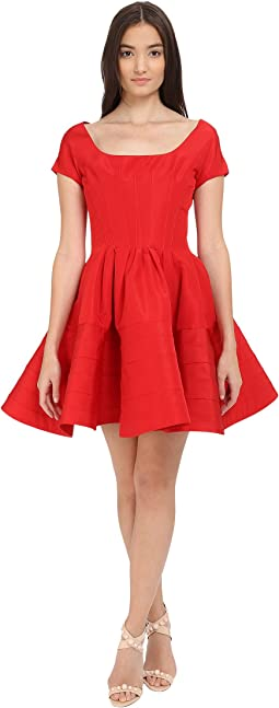 Short Sleeve Boat Neck Fit and Flare Dress
