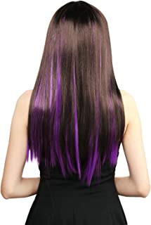 Neitsi 10pcs 18inch Colored Highlight Synthetic Clip on in Hair Extensions #F10 Purple