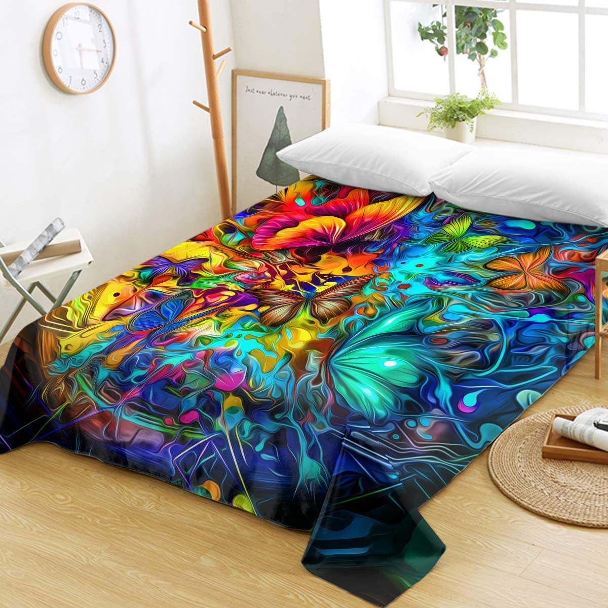 Manufacturer OFFicial shop Sleepwish Bedding Flat A surprise price is realized Sheet Abstract Fantasy Colorful Butterfly