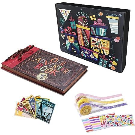 Album Fotografico,Our Adventrue Book Scrabooking DIY Espandibile 80 Pagine con Kit di Accessori Ottimo Regolo per Famiglia Anniversario Compleanno Matrimonio Thanksgiving Personale Christmas
