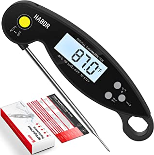 Habor Digital Meat Thermometer, Upgraded Waterproof, 3s Instant Read Cooking Thermometer, Kitchen Food Thermometer with Ba...
