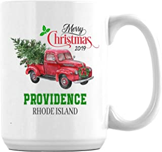 Merry Christmas White Coffee Mug With Providence Rhode Island US All State Christmas Gifts 2019 for Family Cup Mug Unique Xmas Festival Gifts Noel Holiday Decoration Ceramic 15oz